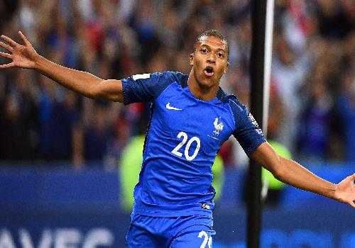 Kylian Mbappe from the french soccer team