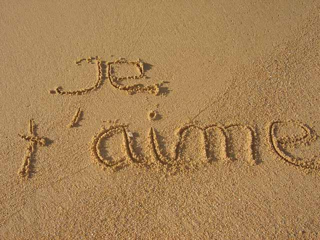 on the beach : Je t'aime