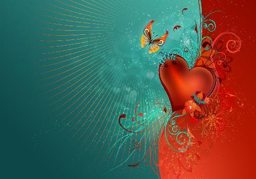 Fond d 39 cran coeur et papillon amour et coeurs for Fond ecran amour