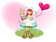 Click to downlowd the picture :: cute girl with gifts and hearts
