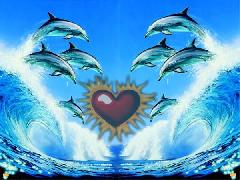 Click to downlowd the picture :: Red Heart and Dolphins