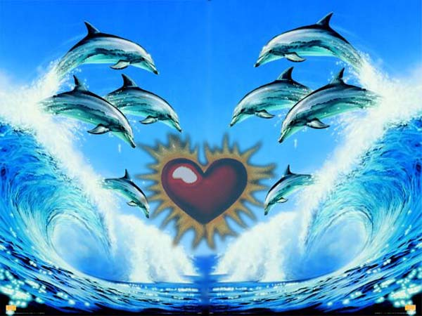 Red Heart and Dolphins