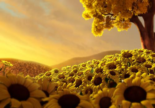 sunflowers pit under a yellow tree