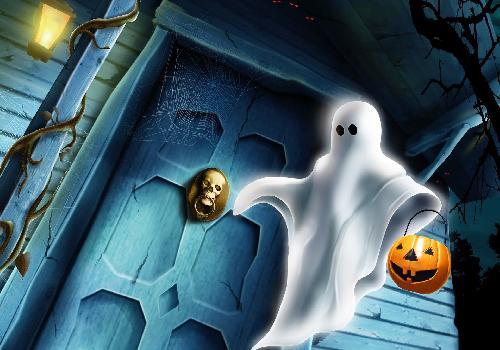 هالوين شبح عند الباب
