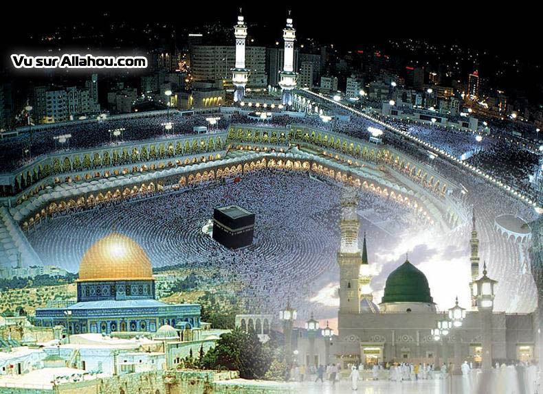 Images of the holy places of Islam: Mecca, Medina and ElQuods (Jerusalem)