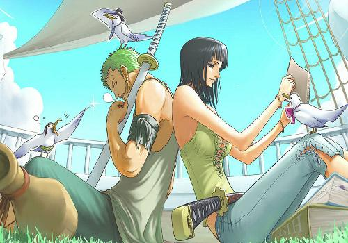 One Piece Zoro Robin Back To Back Boat Relaxation