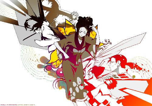 Samourai Champloo Fuu Ennuyee In The Middle Fight موغن وجين وايت الخلفية