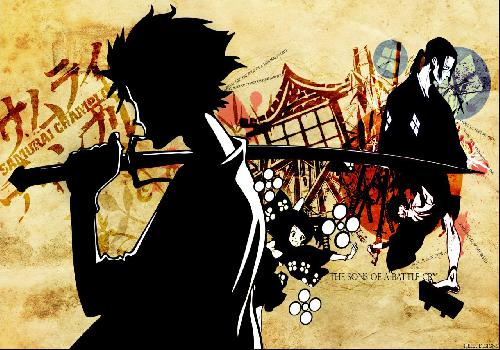 Samourai Champloo The Sons Of A Battle CryMugen And Jin Back To Back Fuu Smiles Background Orange