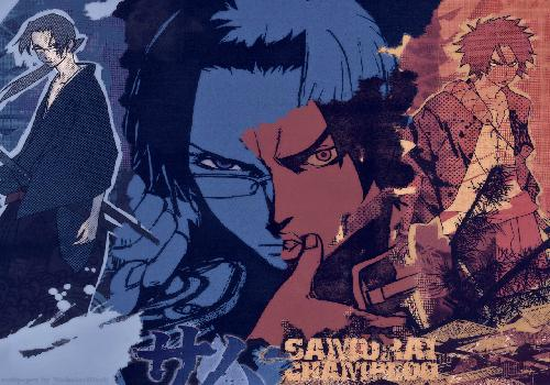 Samourai Champloo Mugen Red Jin Blue Face Merges Middle