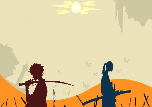 Samurai Champloo Mugen And Jin Back To Back Hand Sword Butterflies Background Orange