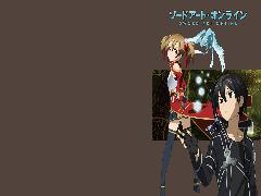 Wallpapers SAO Kirito Silica Smiling Brown Background