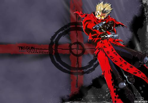 Trigun Vash Standing Tip Weapons Blue Bottom Target Black