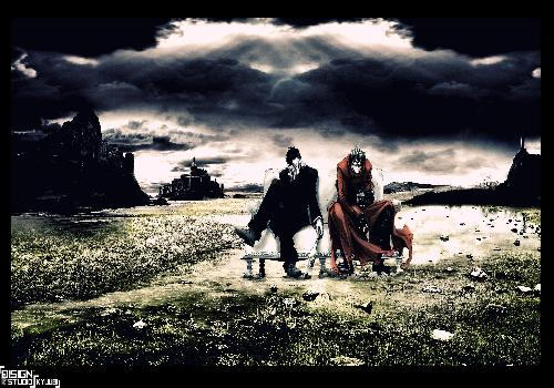 Trigun Vash And Nicholas Wolfwood Sitting Canape White Bottle Landscape Field Sea Retired
