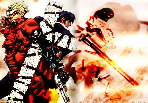 Trigun Vash Woldwoof Back To Back Revolver Punisher Flames