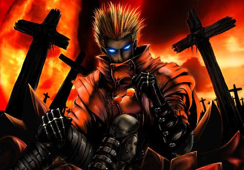 Trigun Vash Blue Eyes Hold Glasses Cemeteries Flames