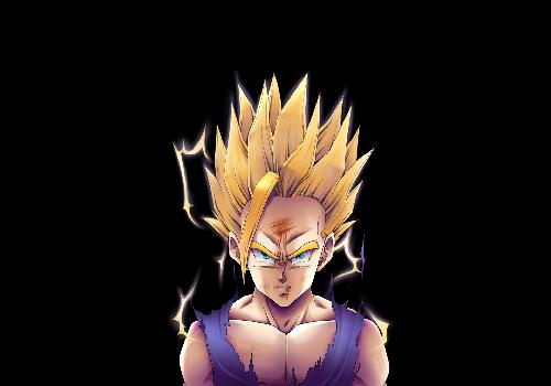 DBZ Sound Gohan Super Saiyan Tears Black Background