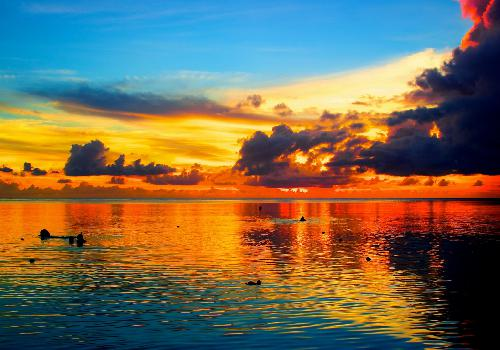 Fond d 39 cran coucher de soleil sur la mer oc ans les - Fond ecran coucher de soleil sur la mer ...