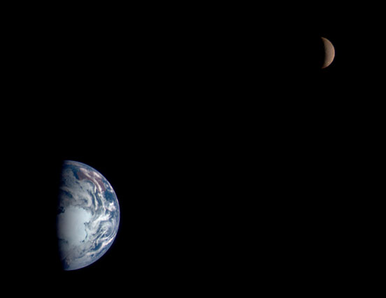 View of the earth and moon
