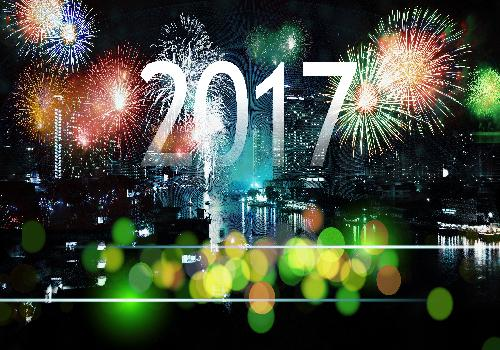 new year 2017 city and fireworks