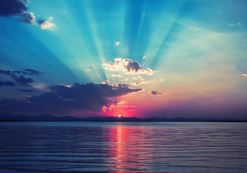 Fond d 39 cran superbe coucher de soleil sur la mer - Fond ecran coucher de soleil sur la mer ...